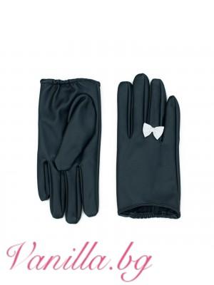 Дамски ръкавици Панделка - черни