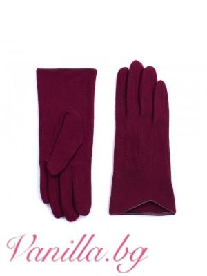 Тъмночервени дамски ръкавици