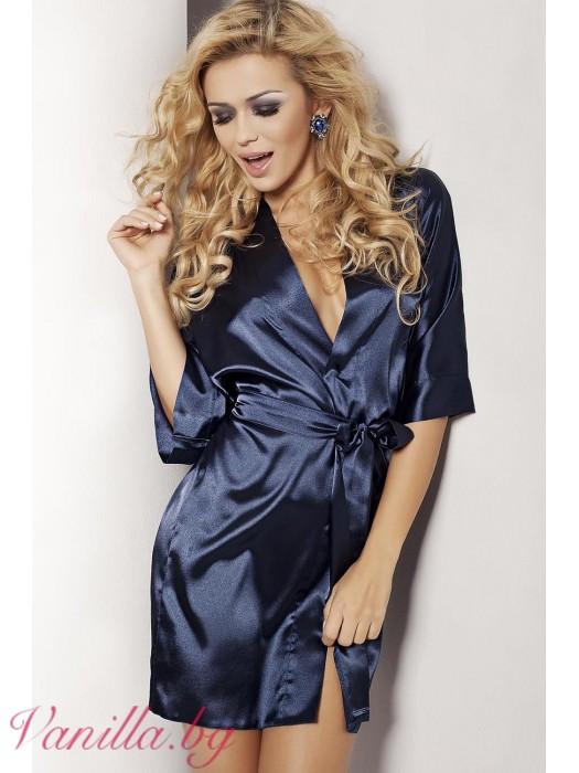 Къс сатенен дамски халат в тъмно син цвят