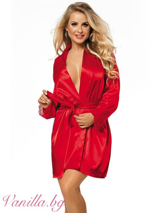 Червен дамски сатенен халат