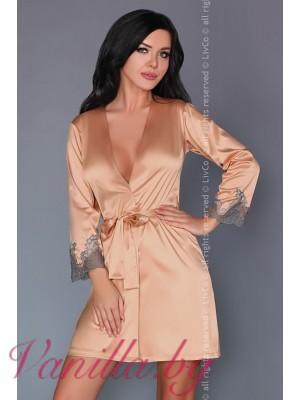 Изискан сатенен дамски халат в цвят пудра