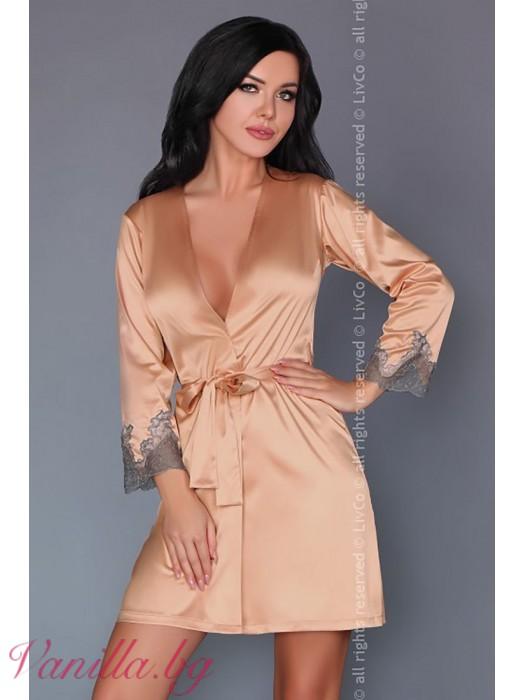 Сатенен дамски халат в цвят пудра