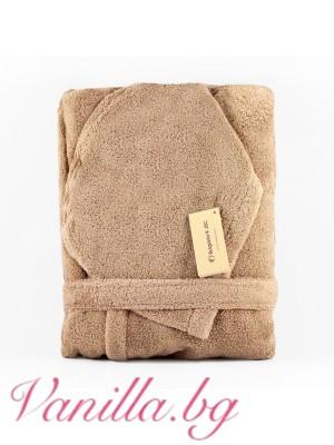 Халат за баня от микропамук - цвят капучино