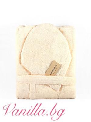 Халат за баня от микропамук - екрю