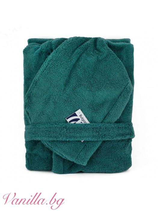Халат за баня от микропамук - зелен