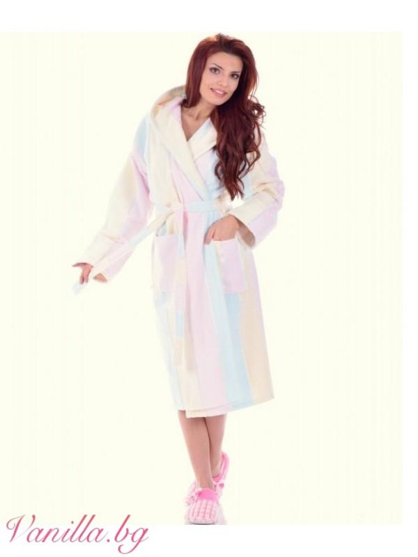 Халати - Луксозен дамски халат в пастелни цветове