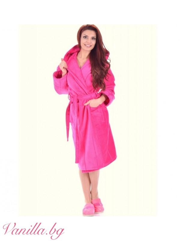 Луксозен дамски халат в цвят Циклама