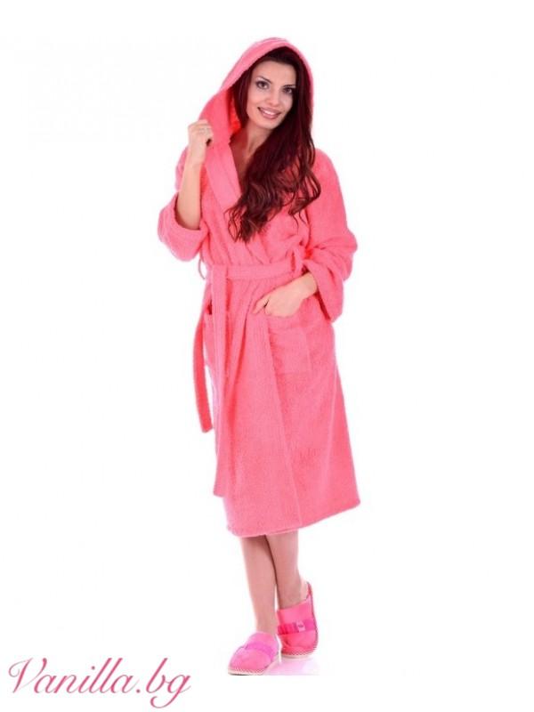 Дамски хавлиен халат МЕРИ - цвят диня