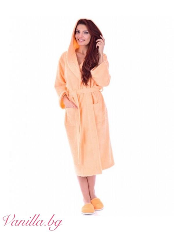 Дамски хавлиен халат МЕРИ — цвят праскова