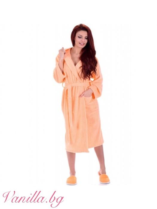Дамски хавлиен халат МЕРИ - цвят праскова