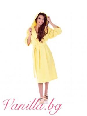 """Дамски хавлиен халат """"МЕРИ"""" - цвят жълто"""