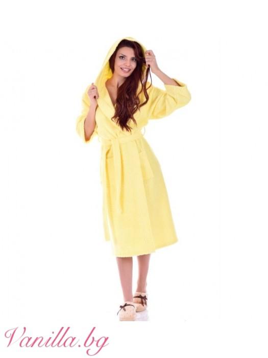 Дамски хавлиен халат МЕРИ - цвят жълто