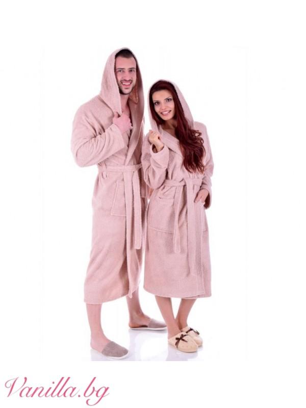Дамски хавлиен халат МЕРИ — цвят капучино