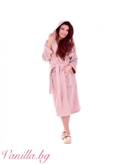 Дамски хавлиен халат МЕРИ - цвят капучино