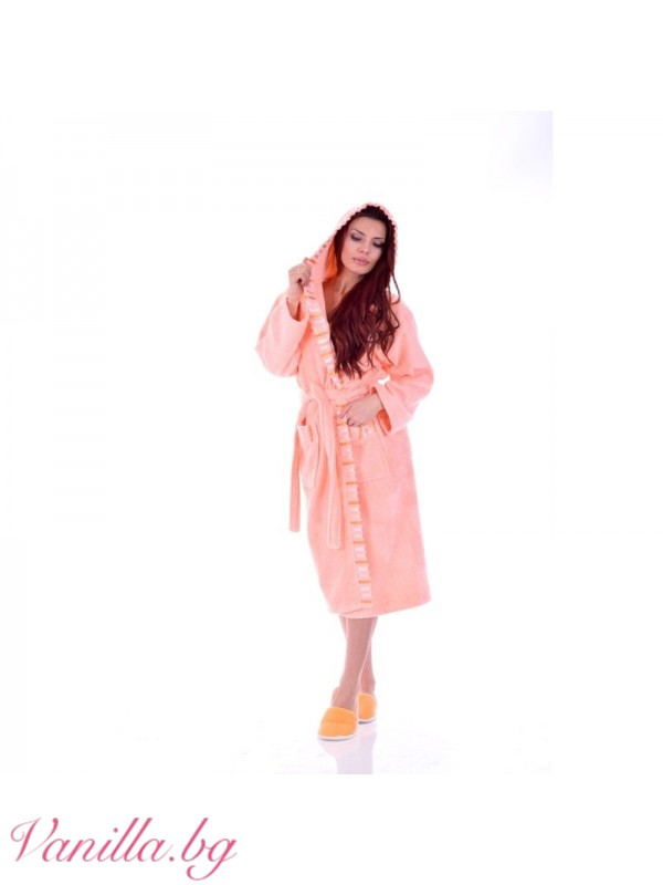 Луксозен дамски Халат Вивиен — цвят праскова
