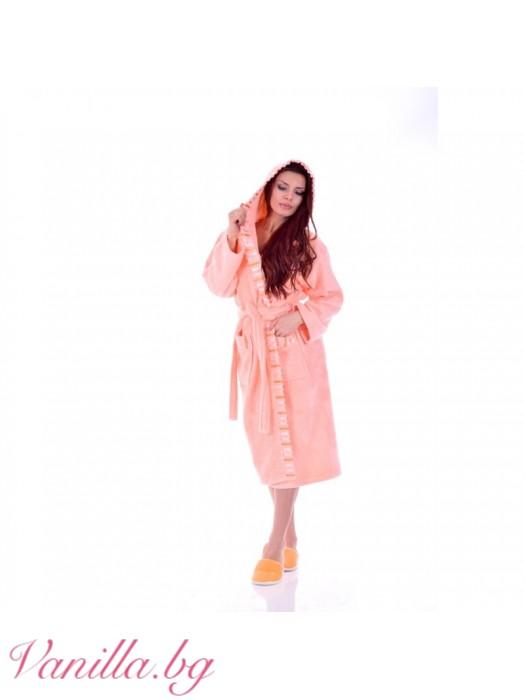Луксозен дамски Халат Вивиен - цвят праскова