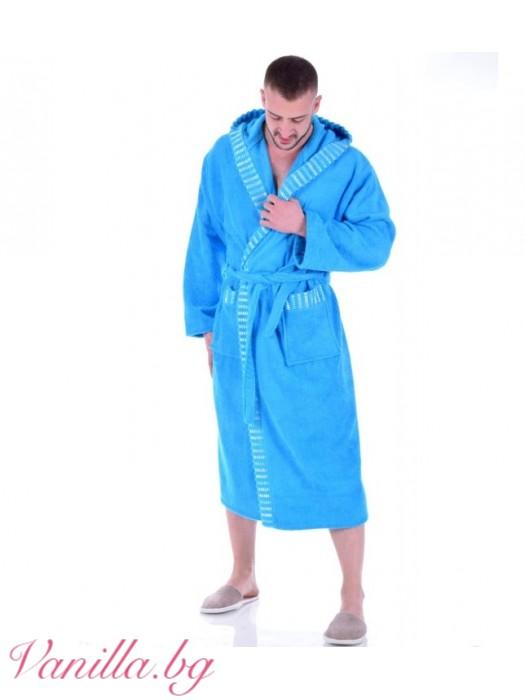 Мъжки халат за баня - светло син