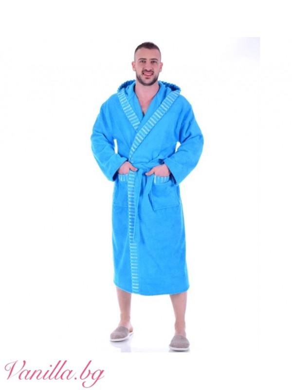 Халат за баня - светло син