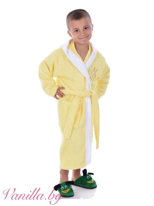 Детски халат за баня - жълт
