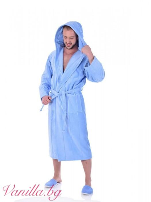 Луксозен халат за баня - светло син