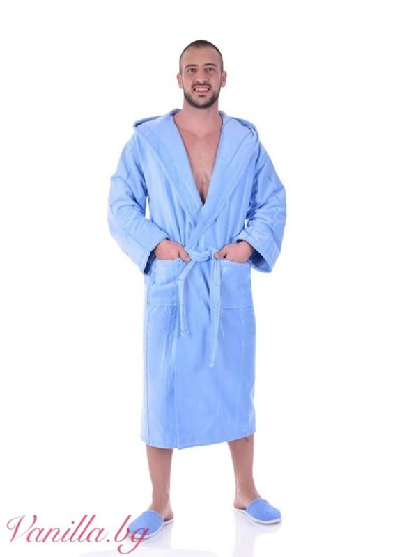 Луксозен халат за баня - светлосин