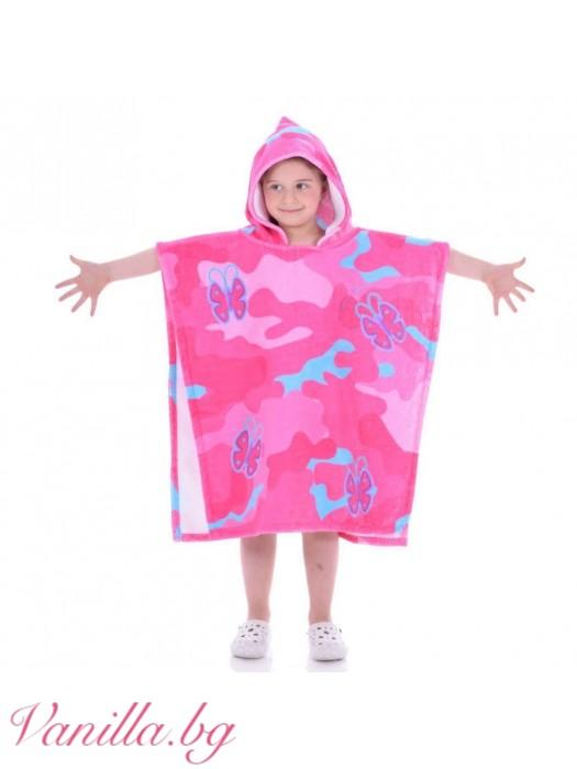 Детска хавлия - розови пеперуди