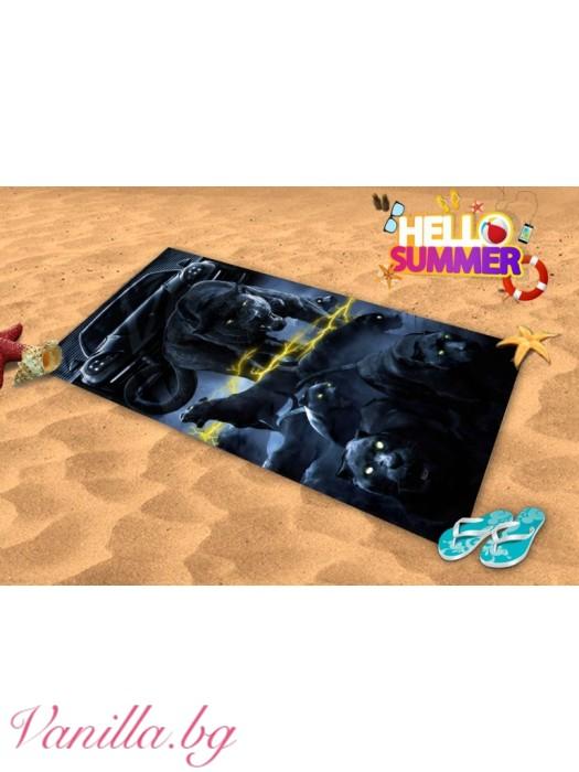 Плажна хавлия - черна пантера