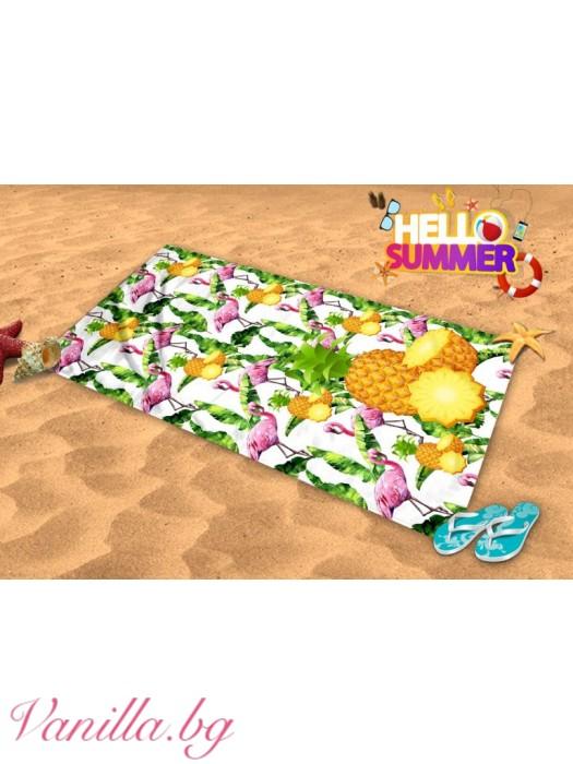 Плажна хавлия - фламинго и ананас