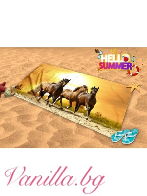 Плажна хавлия - коне