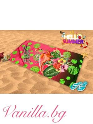 Плажна хавлия - лятно фламинго
