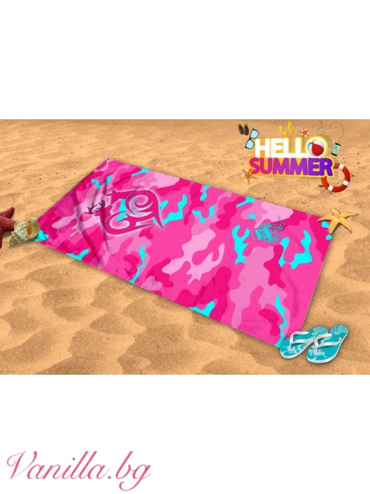 Плажна хавлия - розов камуфлаж