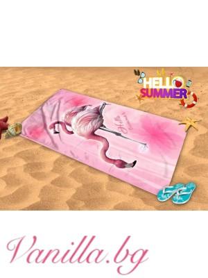 Плажна хавлия - розово фламинго