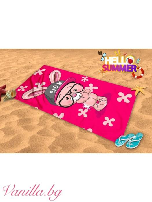 Плажна хавлия - розово зайче