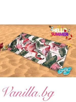 Плажна хавлия с фламинго и палмови листа