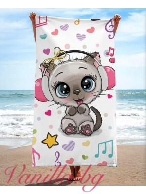 Детска плажна хавлия - котенце