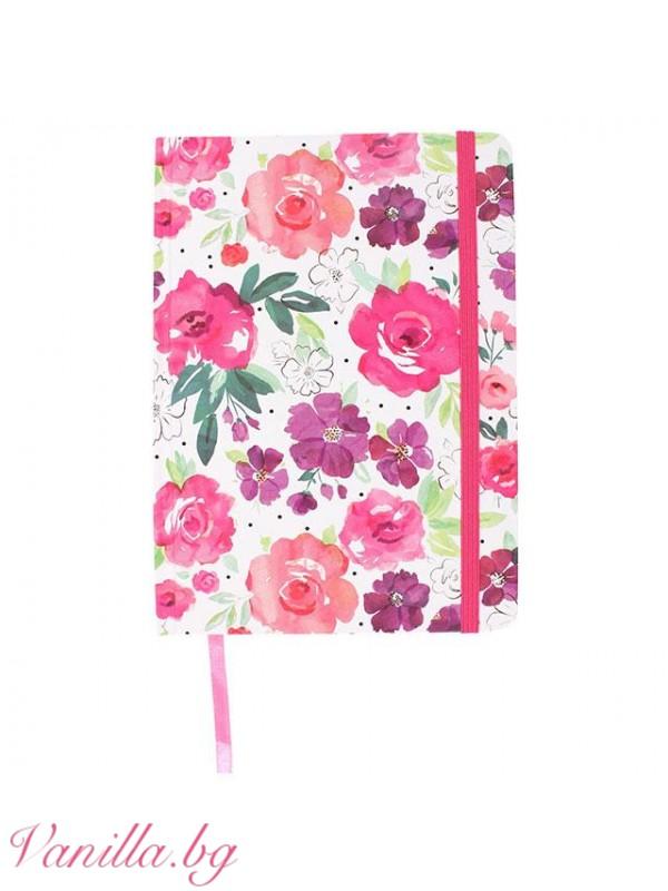 Подаръчни комплекти - Комплект тефтер, несесер и бележник с магнит за хладилник Floral Fusion
