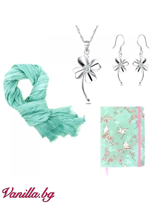Подаръчен комплект Lucky Green - шал, тефтер и бижута