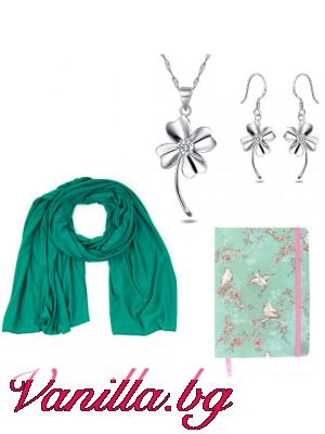 """Подаръчен комплект """"Lucky Green"""" - шал, тефтер и бижута"""