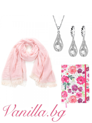 "Подаръчен комплект ""Lovely Pink"" - шал, тефтер и бижу"