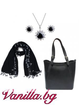 """Подаръчен комплект """"Dark Magic"""" - чанта, шал и бижу"""