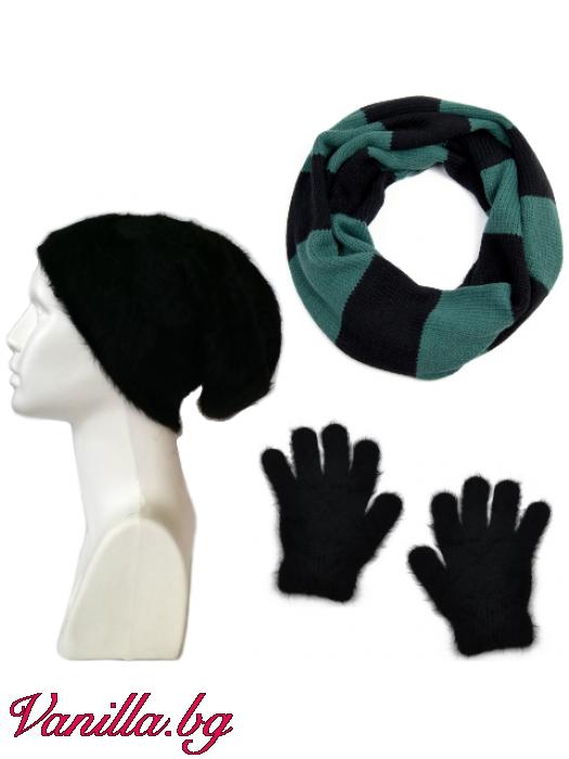 Подаръчен комплект Ангора - шапка, ръкавици и шал