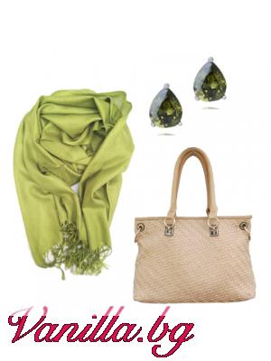"Подаръчен комплект ""Spring Mood"" - чанта, шал и обеци"