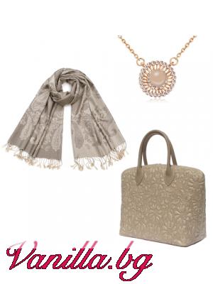 """Подаръчен комплект """"Classical Luxe"""" - чанта, шал и колие"""