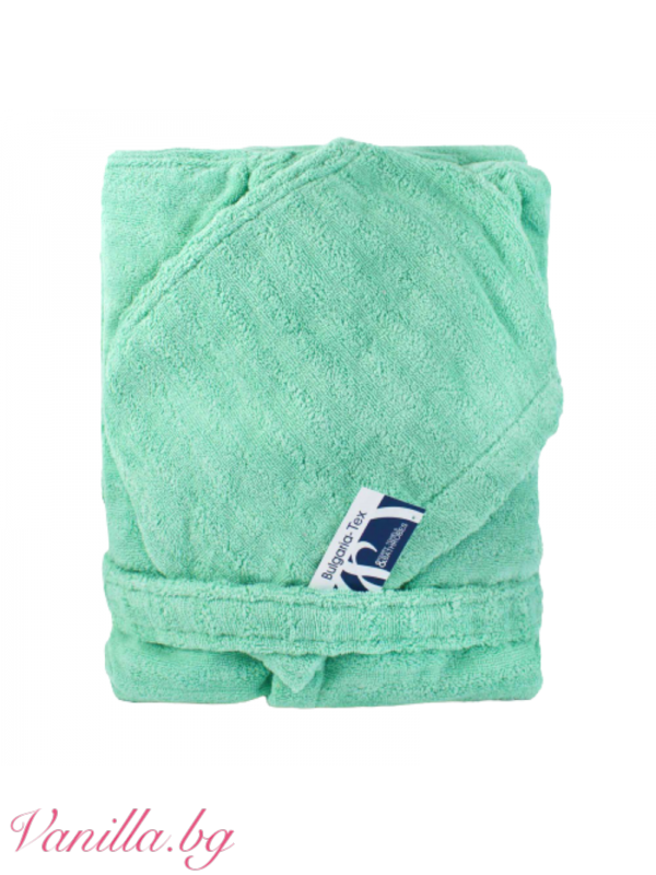 Комплект халат и хавлия в ментово зелено