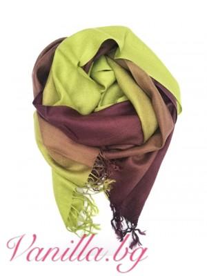 Дамски шал в преливащи цветове - лилаво и зелено
