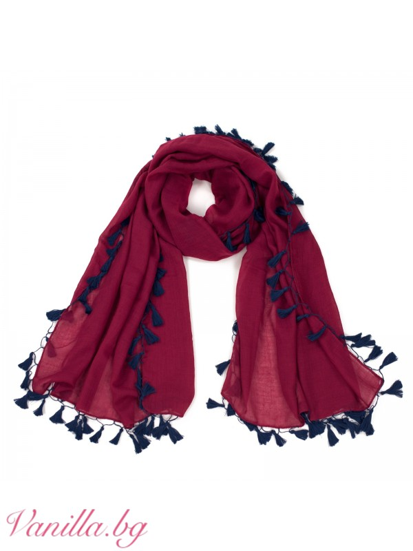 Дамски памучен шал с пискюли