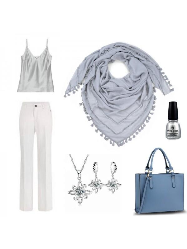 Памучен шал с мъниста - сив