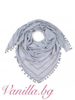 Дамски памучен шал с мъниста - сив