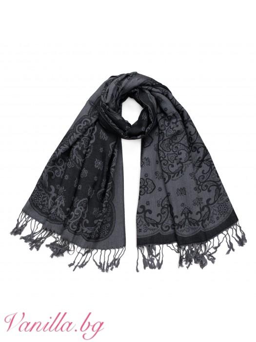 Дамски шал в черно и сиво