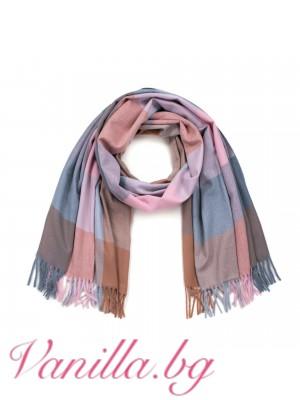 Кариран шал в пастелни цветове